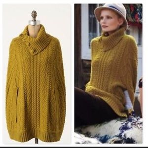 Fiets voor cocoon poncho cable knit mustard yellow